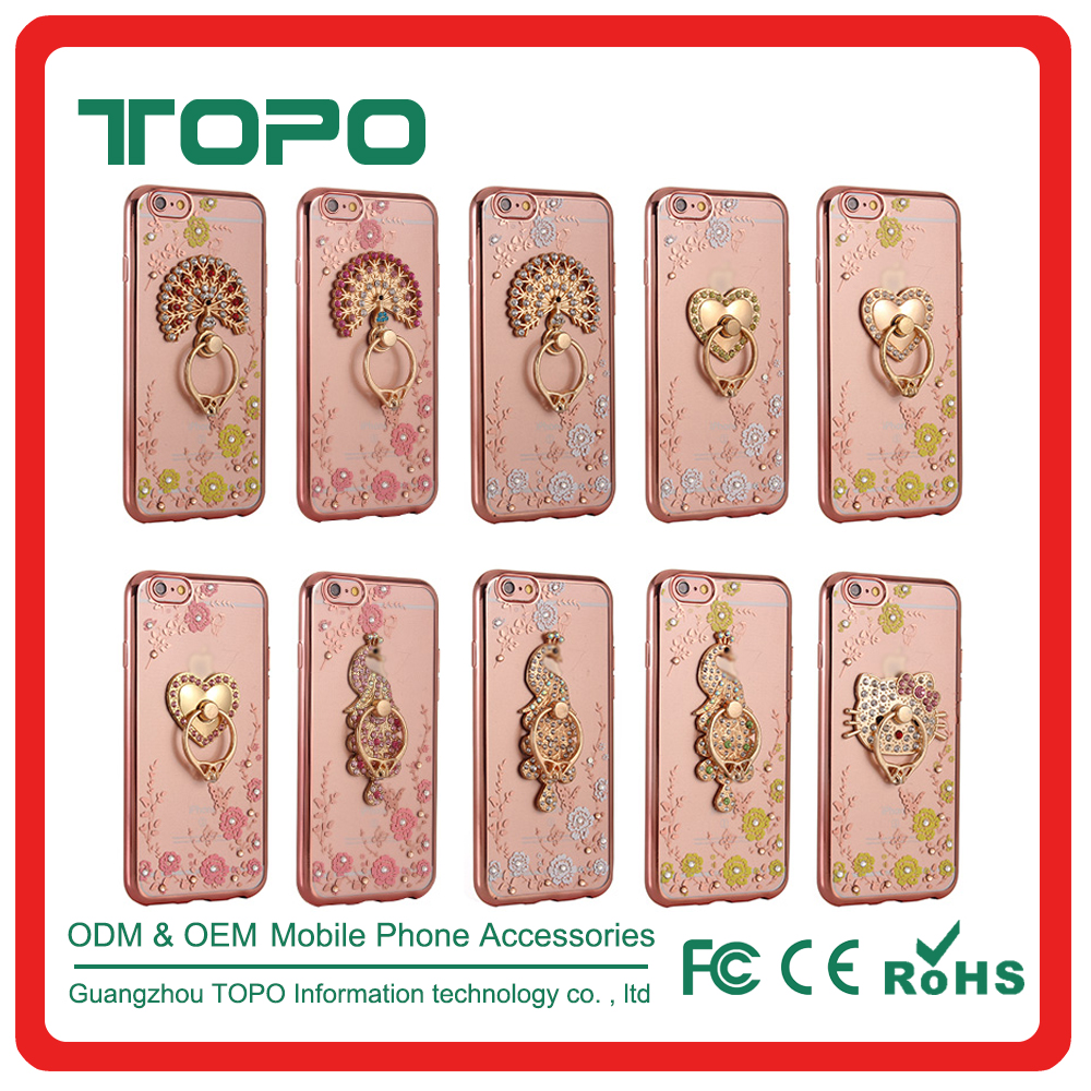 Diamonds rhinestone Flower pattern Finger ring Electroplate frame soft TPU phone case for iphone 6 6s plus