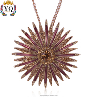 PYQ-00238 new design fashion sunflower jewelry rhinestone pendant for girls and woman