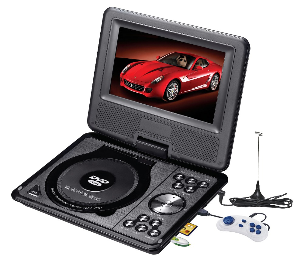 Portable 7 inch 9 inch 10 inch EVD VCD CD USB SD RMVB Home DVD Player With TV Game FM Radio