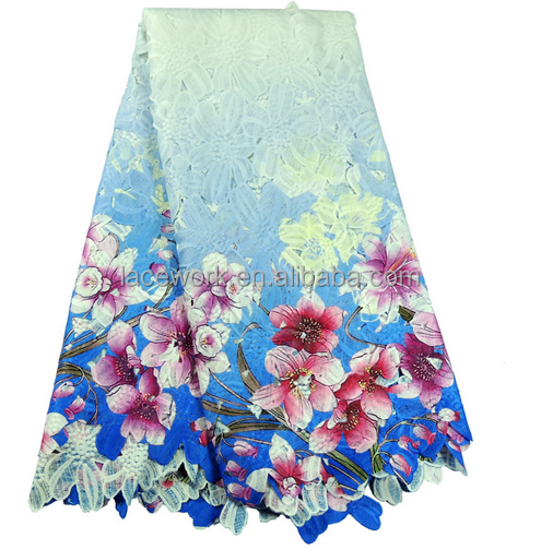 custom blue new design jacquard floral polyester net lace fabric,african net lace fabric