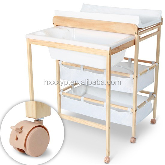 Pine wooden with sleigh style shower design for Baby Changing <strong>table</strong>