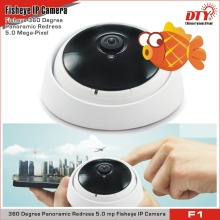 5mp 360 degree fisheye panoramic camera ip wifi wireless full HD with 10m IR range , F1