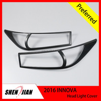Headlamp cover,headlight cover Complete Full Set of Exterior Chrome accessories with 3M for 2016 INNOVA NEW black color