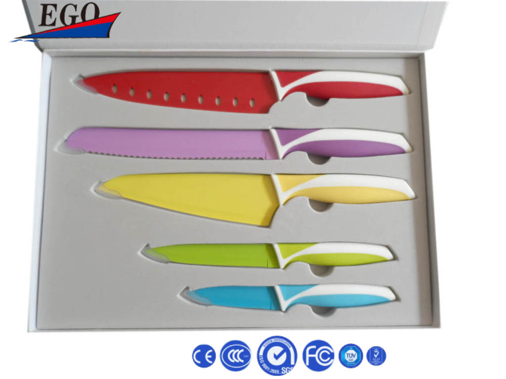 Colorful non stick knives with titanizing coating credit card knife