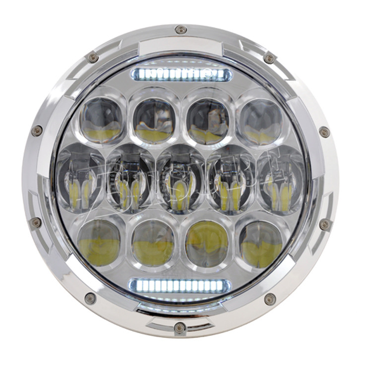 "7 Inch ""D"" Lens Round LED Headlight 85W DRL Upgrade Head Lamp High/Low Beam/DRL wiht H4-H13 Adapter For Jeep Wrangler LJ JK2 TJ"