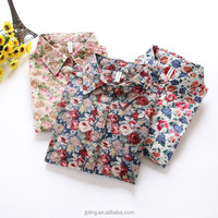 2015 new design spring garden fresh floral cotton long-sleeved shirt Slim fit