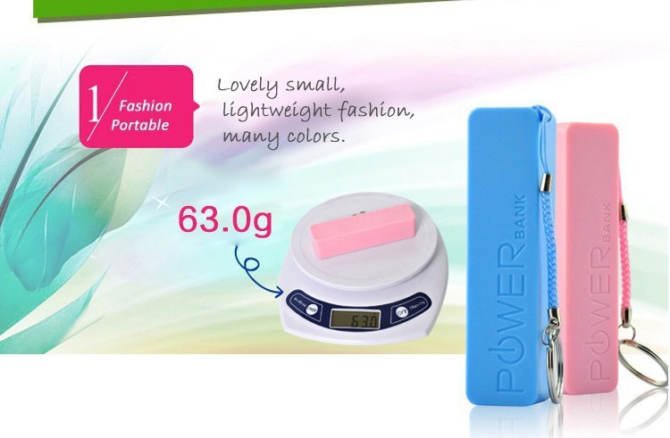 New Fashion Design Multi Color 2600 mah Universal Power Bank Charger For iPhone