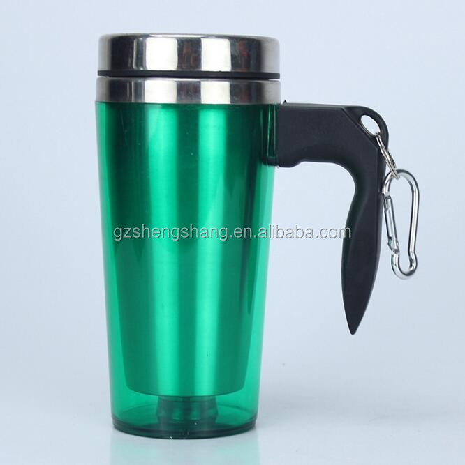 double walled stainless steel carabiner mug
