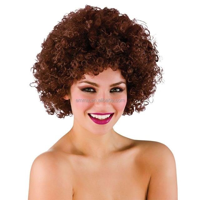 Funky kinky Brown Afro Wig Mens Ladies Clowns Fancy Dress Accessory human hair wig W20013