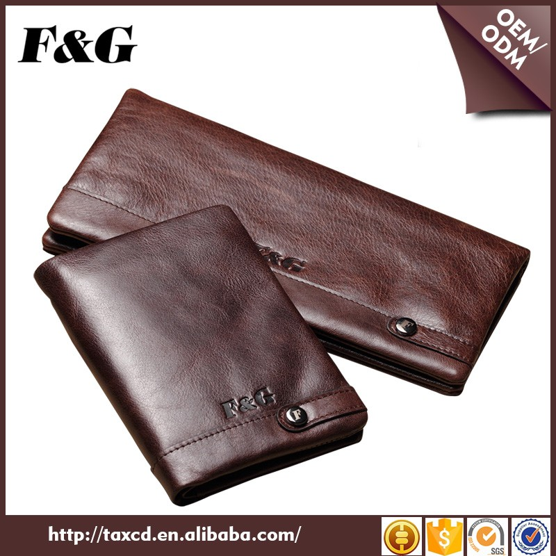 High-end long genuine leather mens brown retro wallet