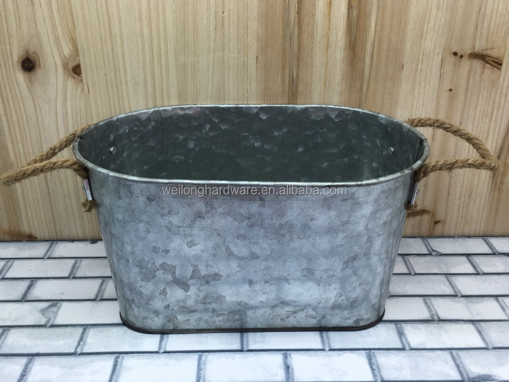 Large Metal Galvanized Party Drinksware Cooler/Antirust Oval Ice Bucket/Party Tub
