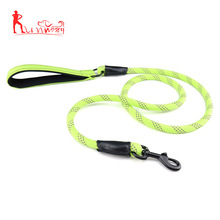 Reflective nylon safety pet dog rope leashes with padded handle