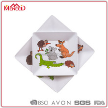 BPA free reusable eco-friendly animals printed melamine childrens dinner plate, square plastic plate for kids