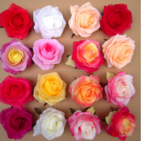 Wholesale Silk Artificial white rose heads for latest wedding decoration