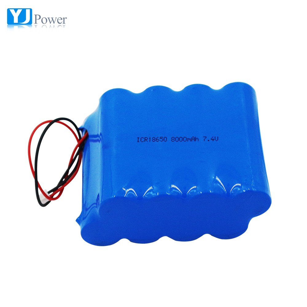 Excellent performance 18650 lithium battery pack 7.4v 8000mah 2S4P recharge li-ion cell pack