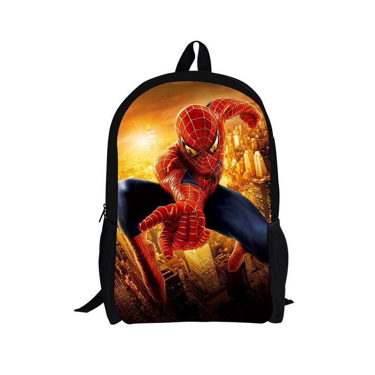 (Good Quality) 2016 Stylish Cotton Carton Backpack School Bag, New Pattern Spiderman Backpack Popular for Boys in School