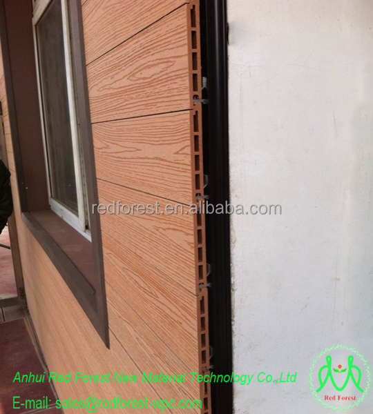 Wpc wood plastic composite exterior wall panel for villa house prefab house buy plastic wood for Composite wood panels exterior