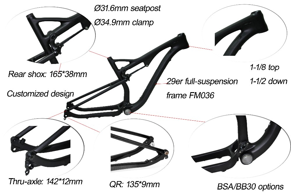 FM036 29 inch full suspension carbon mtb Frame Frame travel 110mm 29er carbon fiber frame MTB