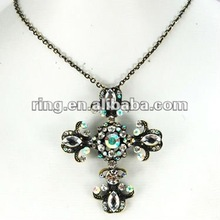 Crystal Flourish Holy Cross Religious Church Fancy Pendant Necklace