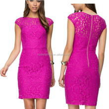 Rose pink office ladies formal wear ladies lace day dress