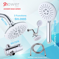 Wholesale ABS plastic chromed bath rainfall handheld shower head set with holder accessories