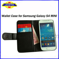 Size 100% Fit Wallet leather case for Samsung Galaxy S4 MINI I9190,Galaxy S4 Mini Wallet case,2013 New arrival ----Laudtec
