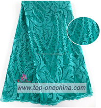 Teal tulle lace african tulle net lace with stones for dress