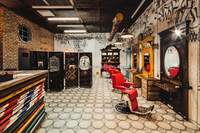 Luxurious wooden furnitures for branded barber shop haircut chairs and worktables with drawers
