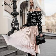 Simplee 2017 spring satin high waist casual smooth pleated skirt for evening party