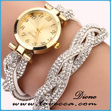 Fashion rhinestone Women Leather Bracelets watch Lady Wrist Watch