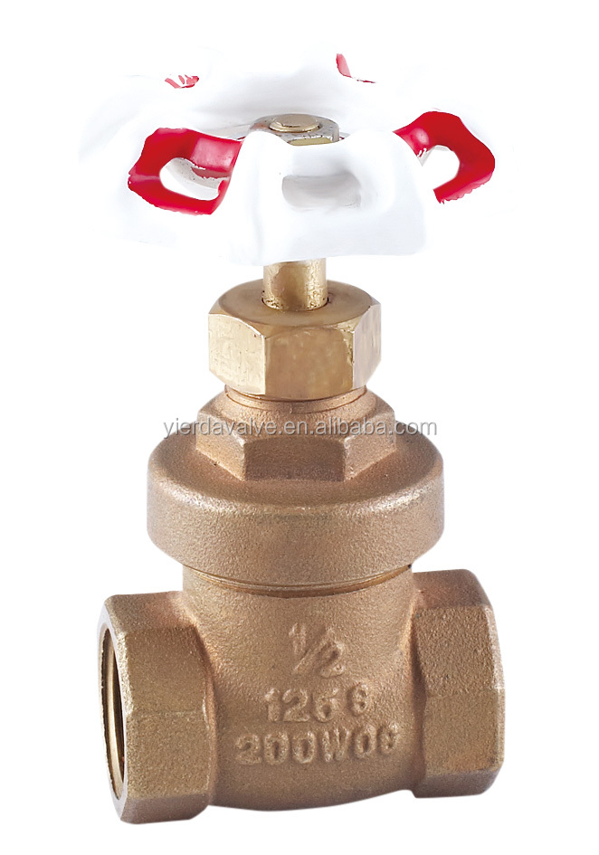 1/2 inch 200 WOG brass body brass stem Brass Gate Valve With Red and White Handlewheel in yuhuan zhejiang china