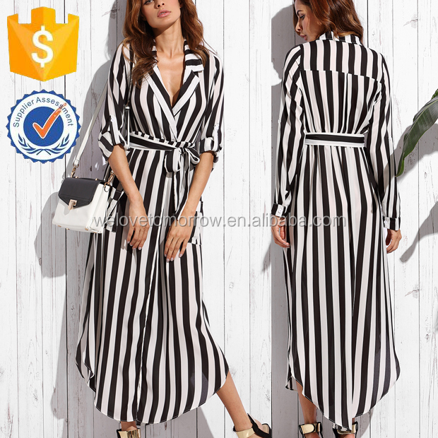 Black And White Striped Shit Collar Chiffon Belted Waist Side Slit Formal Maxi Dresses Wholesale Fashion Women Apparel (TF1155D)