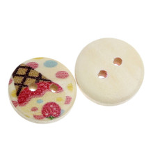 Wood Painting Sewing Buttons Scrapbooking Round 2 Holes Multicolor Ice Cream Pattern Painted 15mm Dia