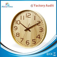 European round style wall clock sitting room solid wood bedroom mute clock simple insert new quartz clock for promotion