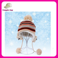Unique warm girls ear flap fashion winter hats with pom poms
