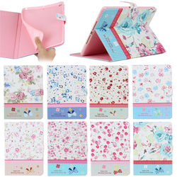 Vintage Floral Flower Demin Leather Wallet Stand Cases for iPad Air 2 With Credit Card Slot
