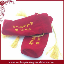 9*32CM Round Bottom Drawstring Red Velvet Wine Gift Bags With Gold Tassel