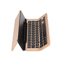 Gold double slot aluminium silicone bluetooth mini wireless keyboard for iPad Air tablet PC