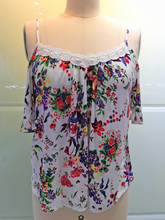 New western ladies printed flowers off shoulder cheap lace tops
