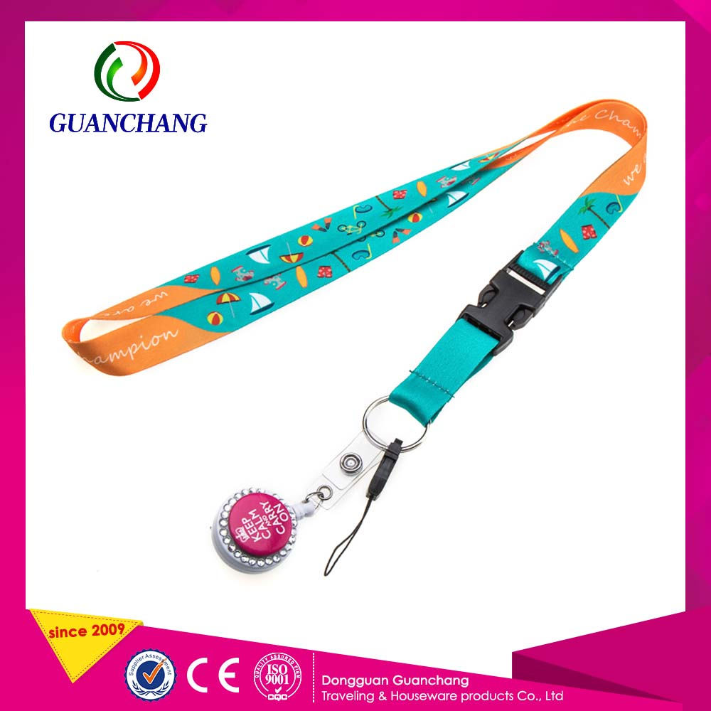 Custom Printed Lanyard With Id Badge Holder And Key Chain