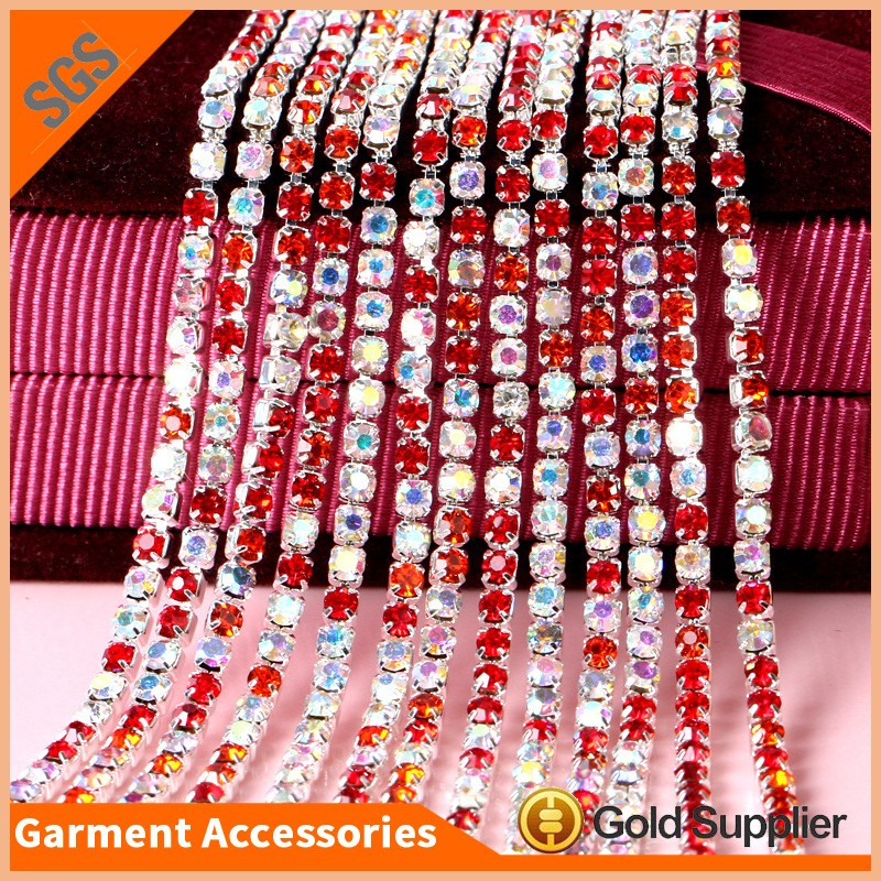 Clothes Decorative Chain Mixed Colored Crystal Rhinestone Trimming