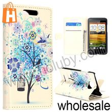 Fashion Blue Tree Mobile Phone Cover for HTC Desire 501 Magnetic Wallet Stand Flip Leather Case for HTC Desire 501
