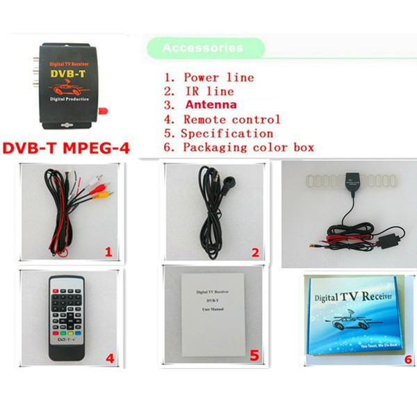 Car DVB-T DVBT MPEG-4 tuner Digital TV receiver box Dual Antenna for European