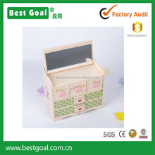 Owl design wooden jewelry box with mirror and 5 small drawers