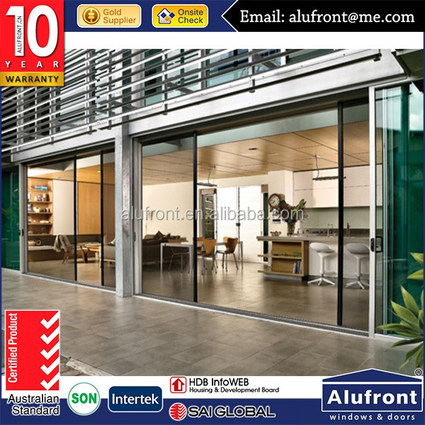 Commercial large aluminium sliding toughened glass door with Australia AS2047 Standard