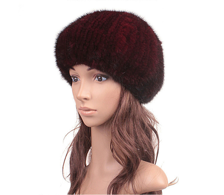 High Quality Camel Real Knitted Mink Fur Hat for Women