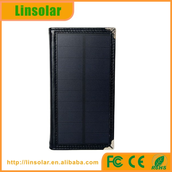 For iPhone external battery charging case PU leather solar cell portable charger case