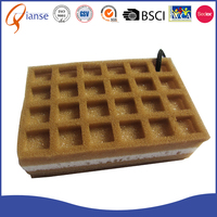 OEM promotional factory price non-abrasive brown sponge material handguard waffle cleaning sponge for kitchen cleaning