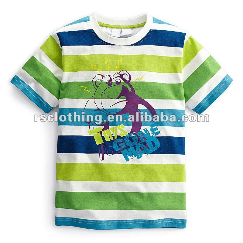 Boys and Childrens Short Sleeve Printing Striped T-shirt