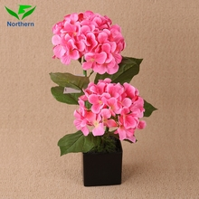 Cheap Real touch Soft fabric plastic artificial rose hydrangea bonsai flower for wedding decoration